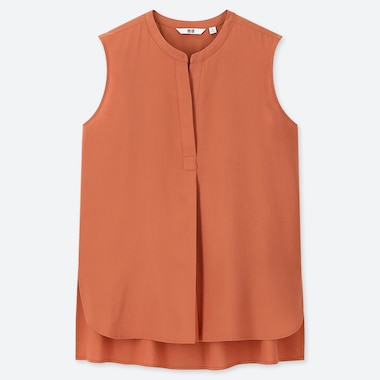 WOMEN RAYON SLEEVELESS BLOUSE, ORANGE, medium