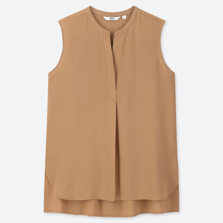 WOMEN RAYON SLEEVELESS BLOUSE, BEIGE, large