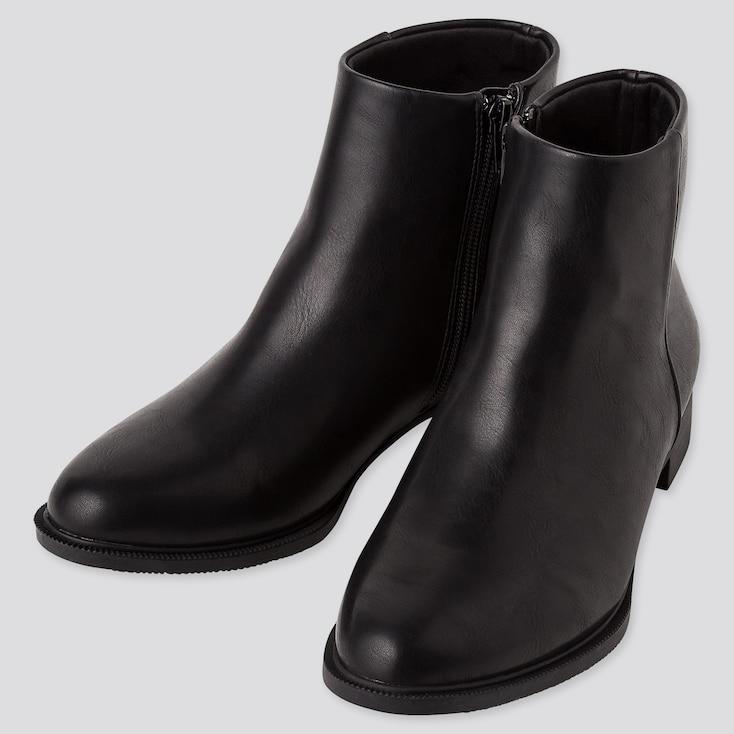WOMEN SIDE-ZIP SHORT BOOTS, BLACK, large