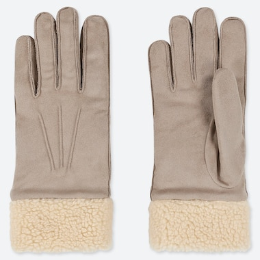 Women Heattech Faux Suede Gloves, Beige, Medium