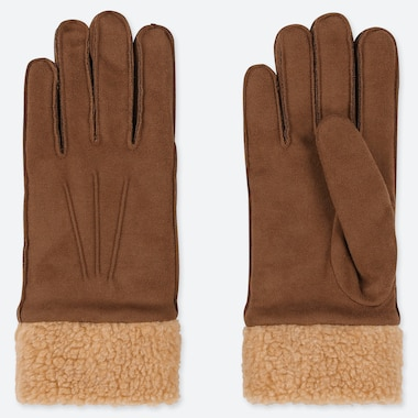 Women Heattech Faux Suede Gloves, Brown, Medium