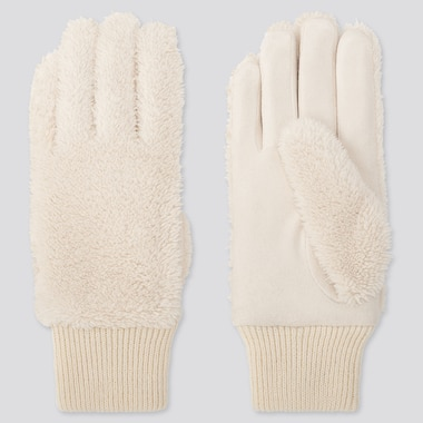 WOMEN HEATTECH FLEECE GLOVES, OFF WHITE, medium
