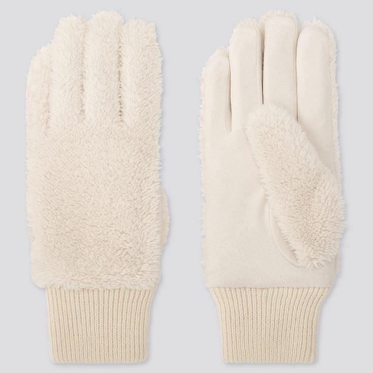 Women Heattech Fleece Gloves, Off White, Large