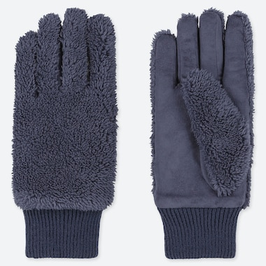 WOMEN HEATTECH FLEECE GLOVES, BLUE, medium