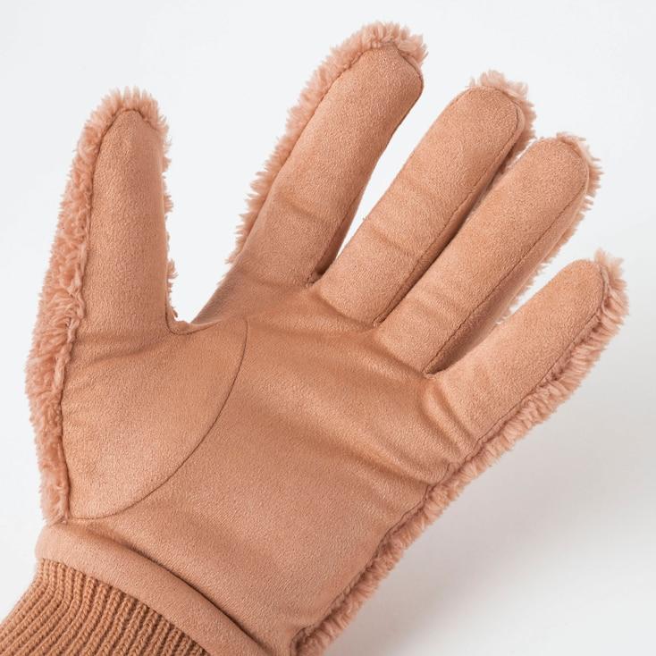 Women Heattech Fleece Gloves, Blue, Large