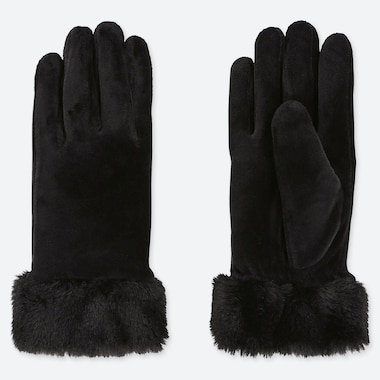 WOMEN HEATTECH FAUX SHEARLING CUFF GLOVES, BLACK, medium