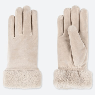WOMEN HEATTECH FAUX SHEARLING CUFF GLOVES, NATURAL, medium