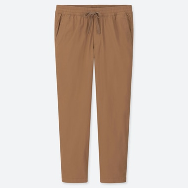 MEN COTTON RELAX ANKLE-LENGTH PANTS, BROWN, medium