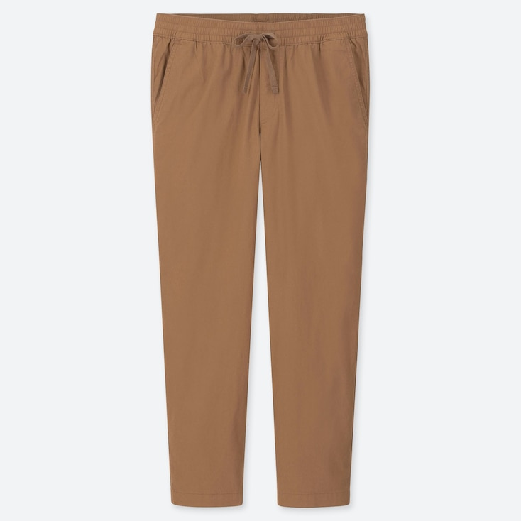 MEN COTTON RELAX ANKLE-LENGTH PANTS, BROWN, large
