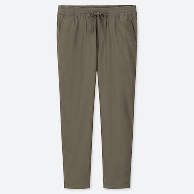 MEN COTTON RELAX ANKLE-LENGTH PANTS, OLIVE, medium