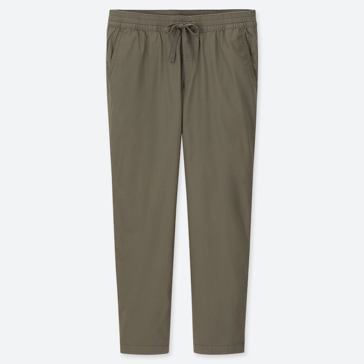 MEN COTTON RELAX ANKLE-LENGTH PANTS, OLIVE, large