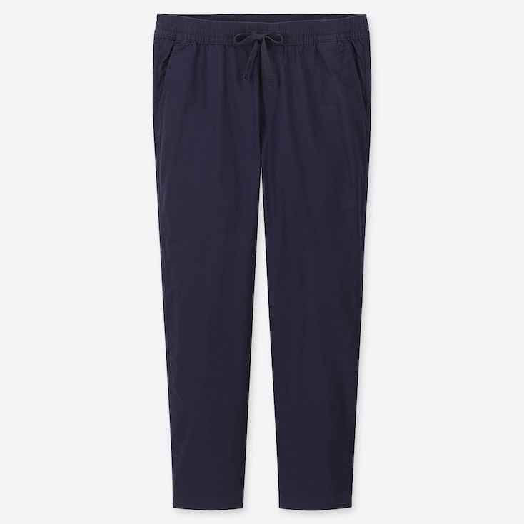 MEN COTTON RELAX ANKLE-LENGTH PANTS, NAVY, large