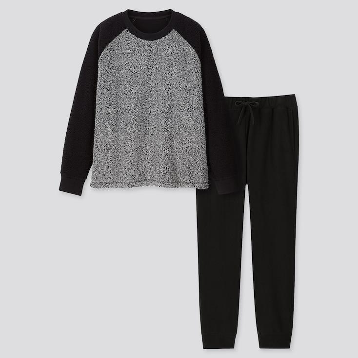 Men Pile-Lined Long-Sleeve Fleece Set, Gray, Large