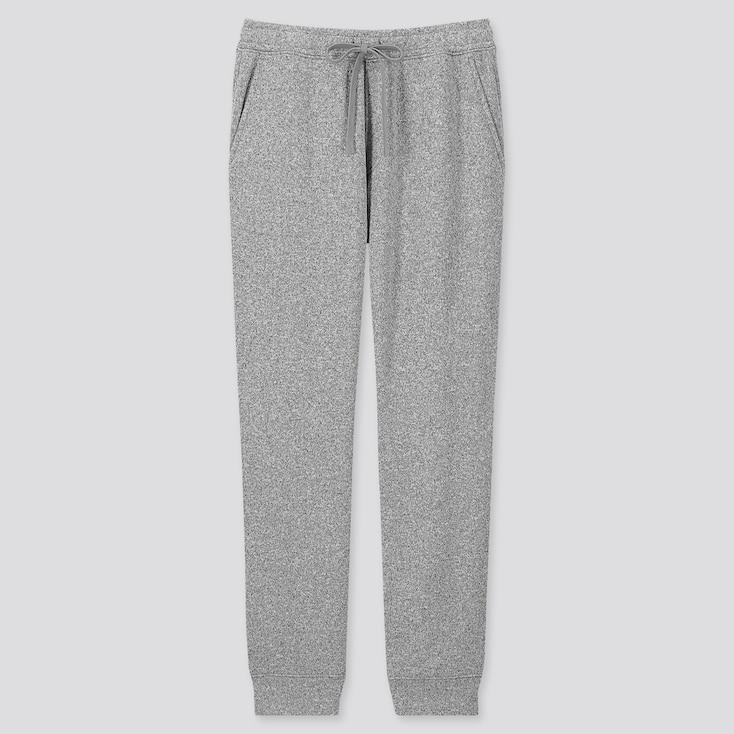 Men Knit Fleece Easy Pants, Gray, Large