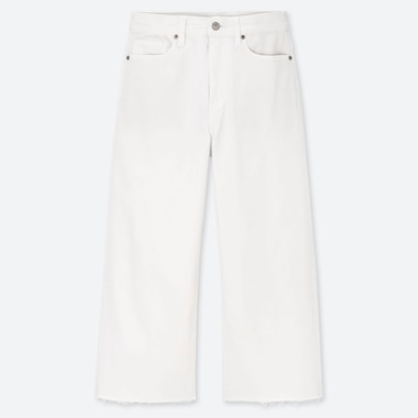 WOMEN HIGH-RISE WIDE CROPPED JEANS, WHITE, medium