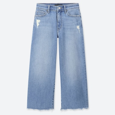 WOMEN HIGH RISE WIDE FIT CROPPED JEANS