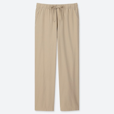 WOMEN COTTON RELAX ANKLE-LENGTH PANTS, BEIGE, medium