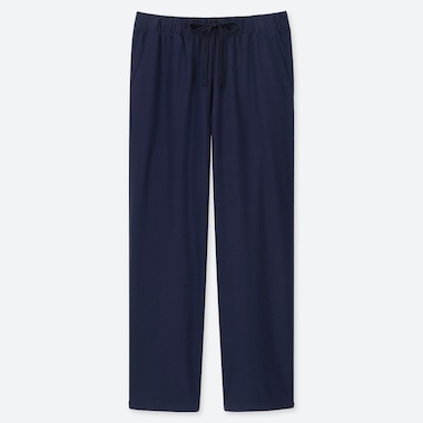 WOMEN COTTON RELAX ANKLE-LENGTH PANTS, NAVY, medium