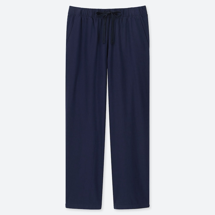 WOMEN COTTON RELAX ANKLE-LENGTH PANTS, NAVY, large