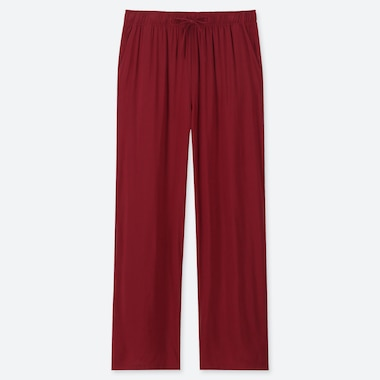WOMEN DRAPE STRAIGHT PANTS, RED, medium