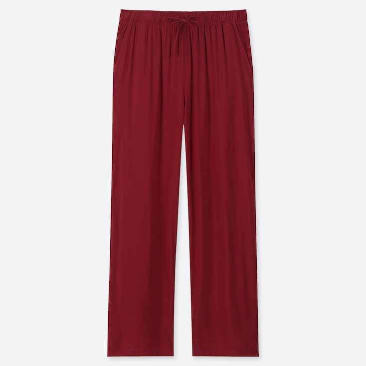 Women Drape Straight Pants, Red, Large