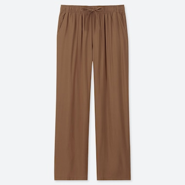 WOMEN DRAPE STRAIGHT PANTS, BROWN, medium