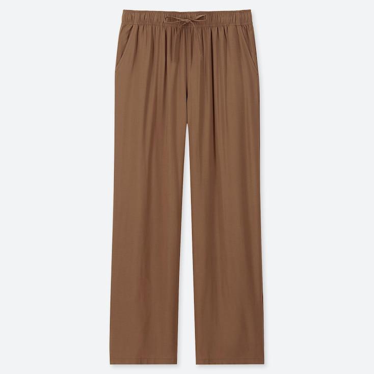 WOMEN DRAPE STRAIGHT PANTS, BROWN, large