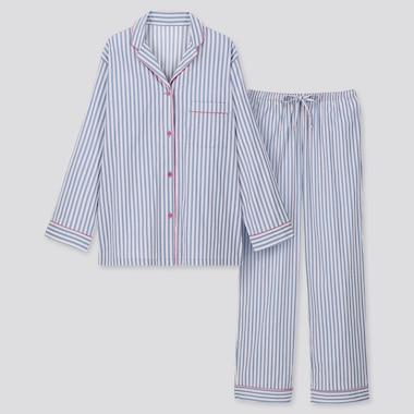 WOMEN SOFT STRETCH LONG-SLEEVE PAJAMAS, BLUE, medium