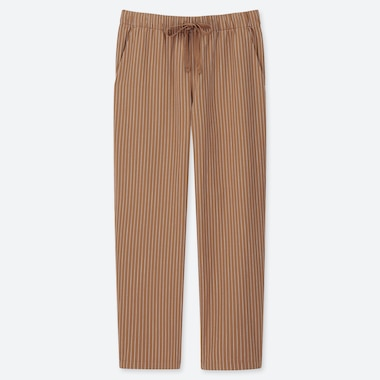 WOMEN COTTON RELAX ANKLE-LENGTH PANTS, BROWN, medium