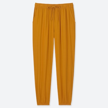 WOMEN DRAPE JOGGER PANTS, YELLOW, medium