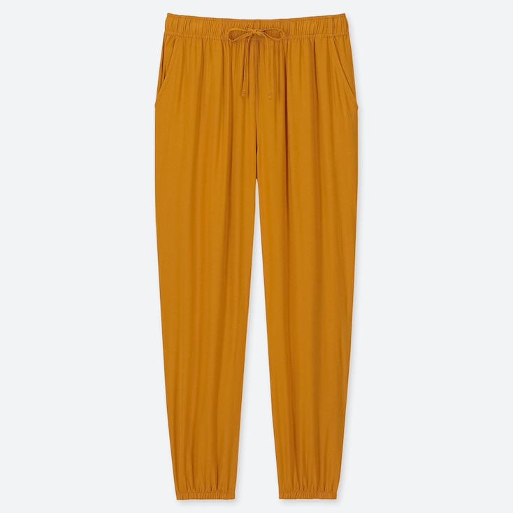 WOMEN DRAPE JOGGER PANTS, YELLOW, large