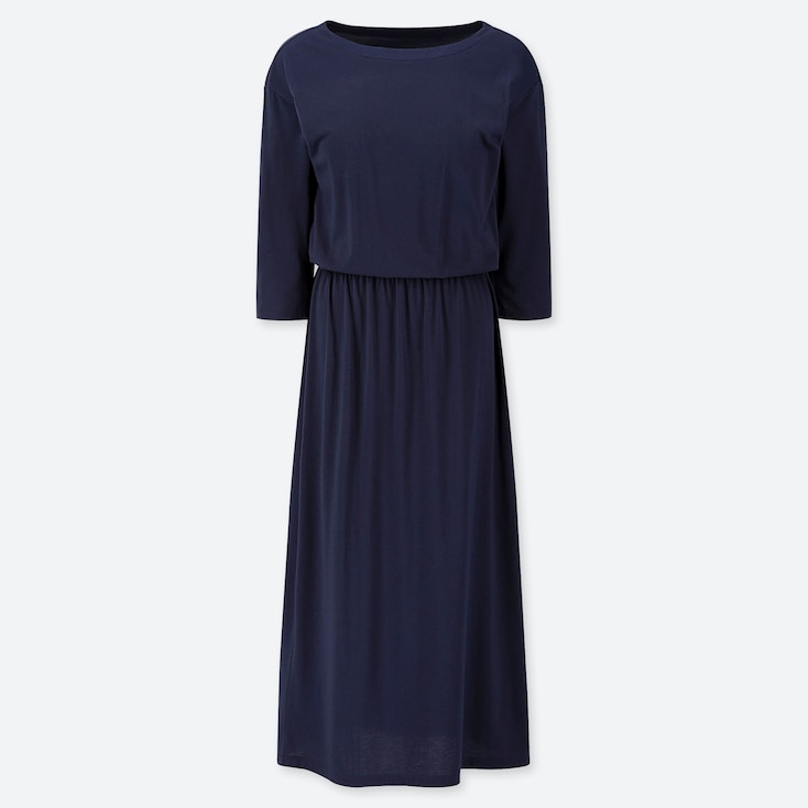 WOMEN RELAX LOUNGE 3/4 SLEEVE DRESS WITH PADDING, NAVY, large