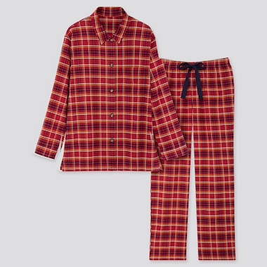WOMEN STRETCH FLANNEL LONG-SLEEVE PAJAMAS, RED, medium