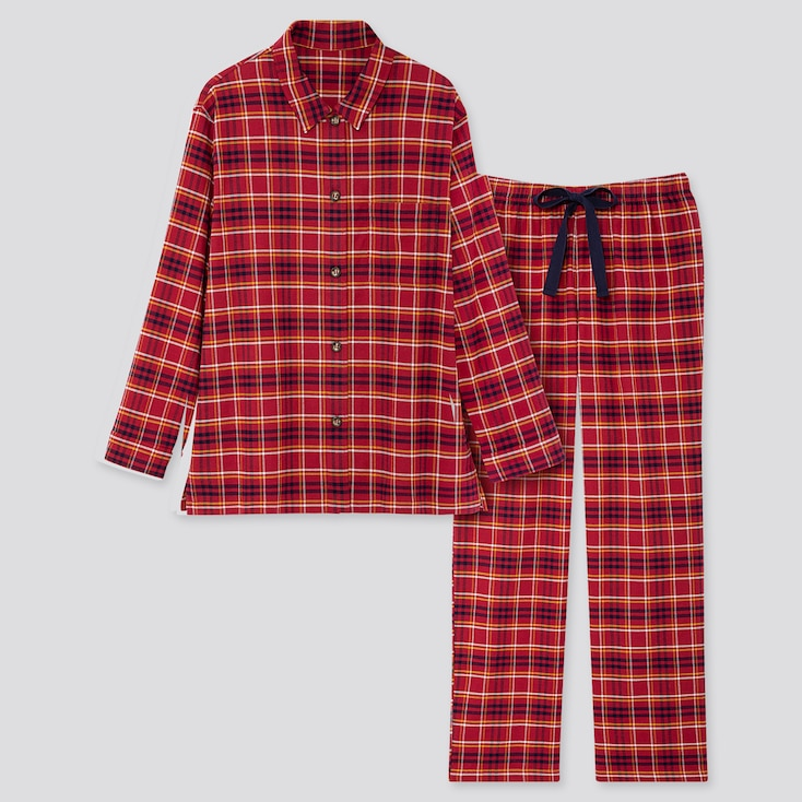 Women Stretch Flannel Long-sleeve Pajamas, Red, Large