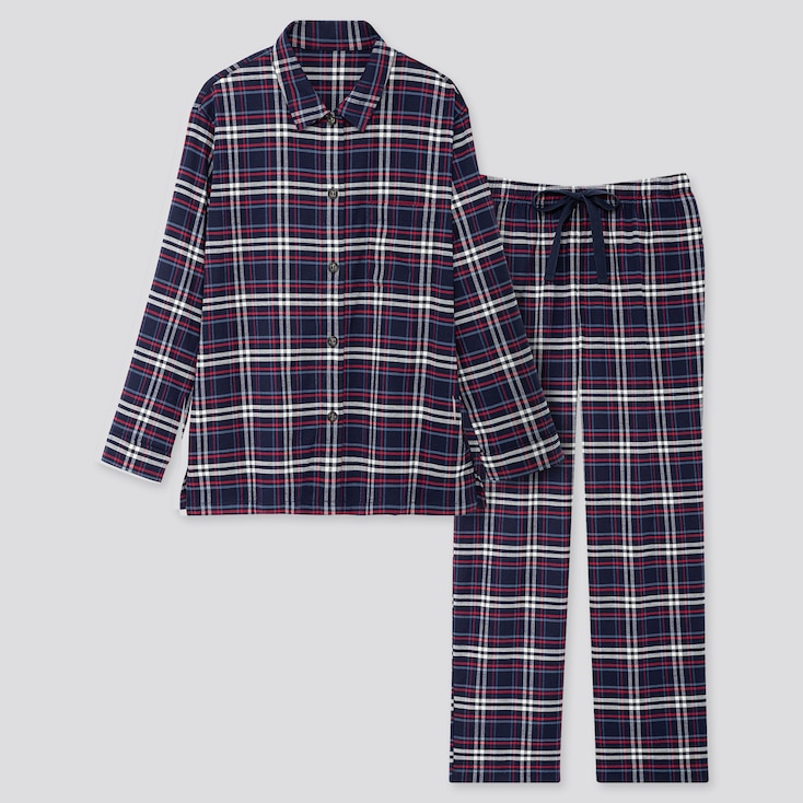 WOMEN STRETCH FLANNEL LONG-SLEEVE PAJAMAS, NAVY, large