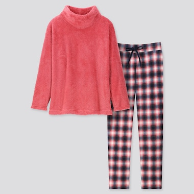 Women Fleece Long-Sleeve Set, Pink, Medium