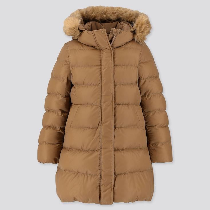 GIRLS WARM PADDED COAT, BROWN, large