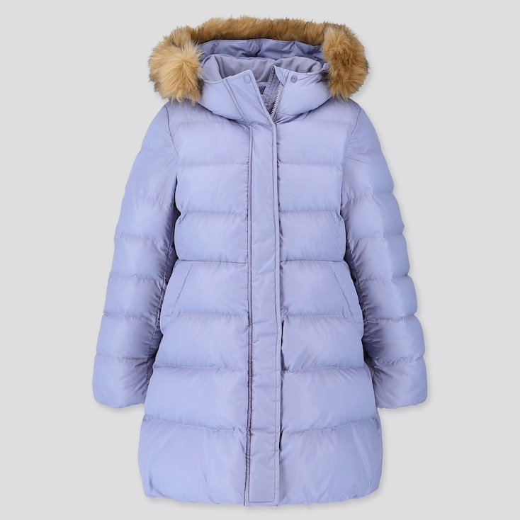 Girls Warm Padded Coat, Blue, Large
