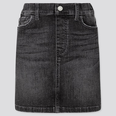 Girls Ultra Stretch Denim Skirt, Dark Gray, Medium