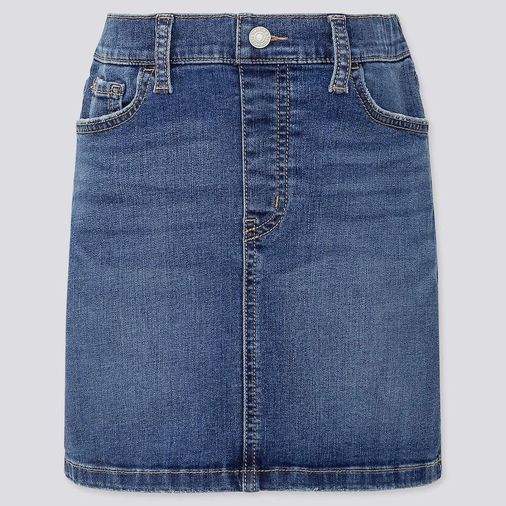 GIRLS ULTRA STRETCH DENIM SKIRT, BLUE, large