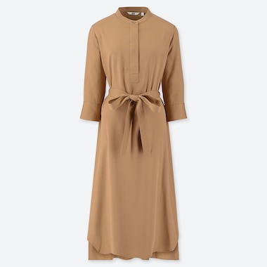 WOMEN RAYON 3/4 SLEEVE DRESS, BEIGE, medium