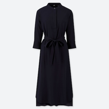 WOMEN RAYON 3/4 SLEEVED BELTED DRESS