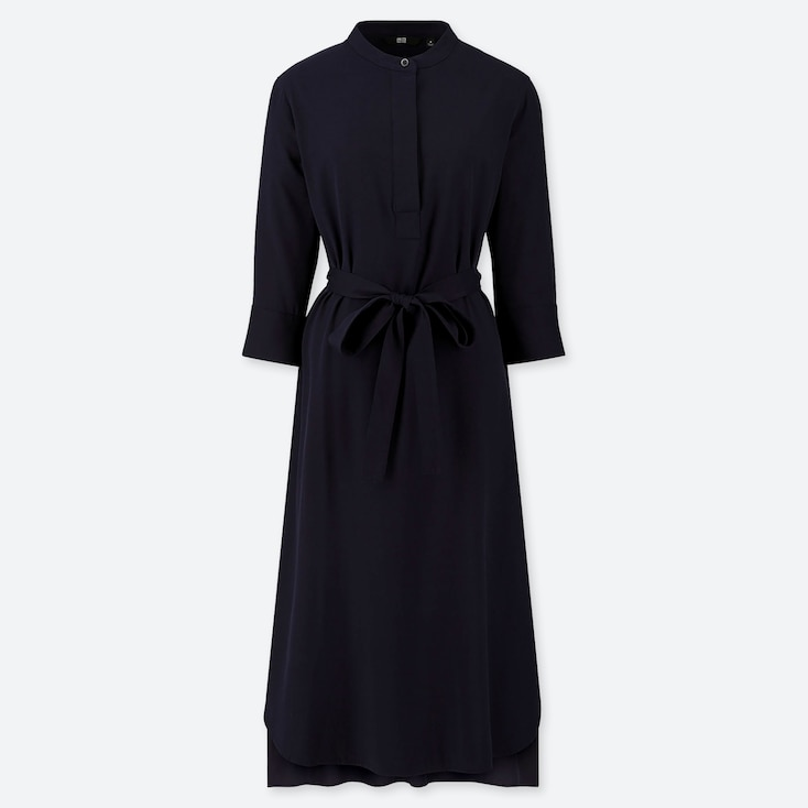 WOMEN RAYON 3/4 SLEEVE DRESS, NAVY, large