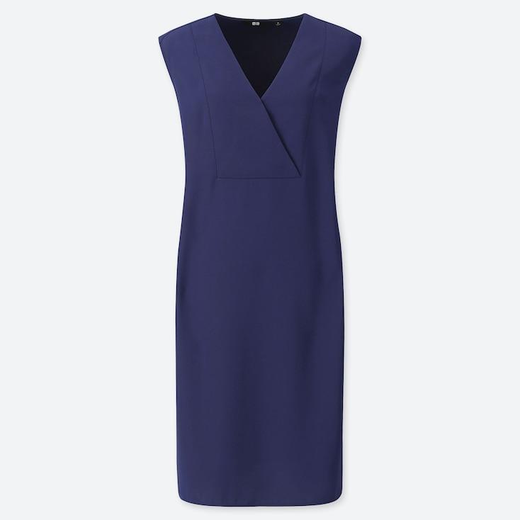 WOMEN DRAPE SLEEVELESS DRESS, BLUE, large