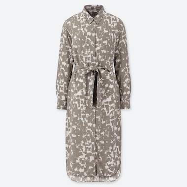 WOMEN PRINTED LONG-SLEEVE SHIRT DRESS, BEIGE, medium