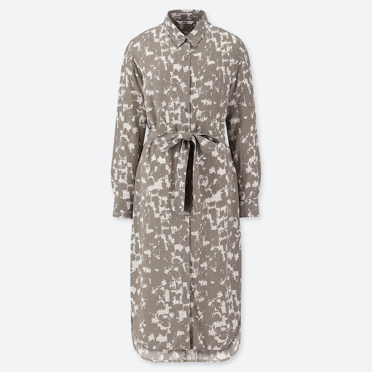 WOMEN PRINTED LONG-SLEEVE SHIRT DRESS, BEIGE, large