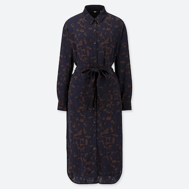 WOMEN RAYON PRINTED LONG SLEEVED BELTED SHIRT DRESS