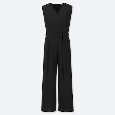 WOMEN DRAPE JUMPSUIT, BLACK, medium
