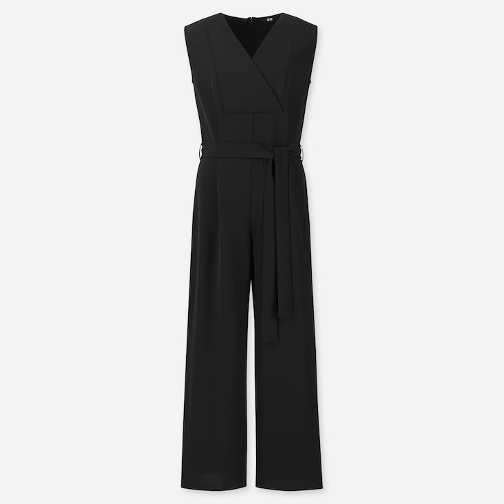 WOMEN DRAPE JUMPSUIT, BLACK, large