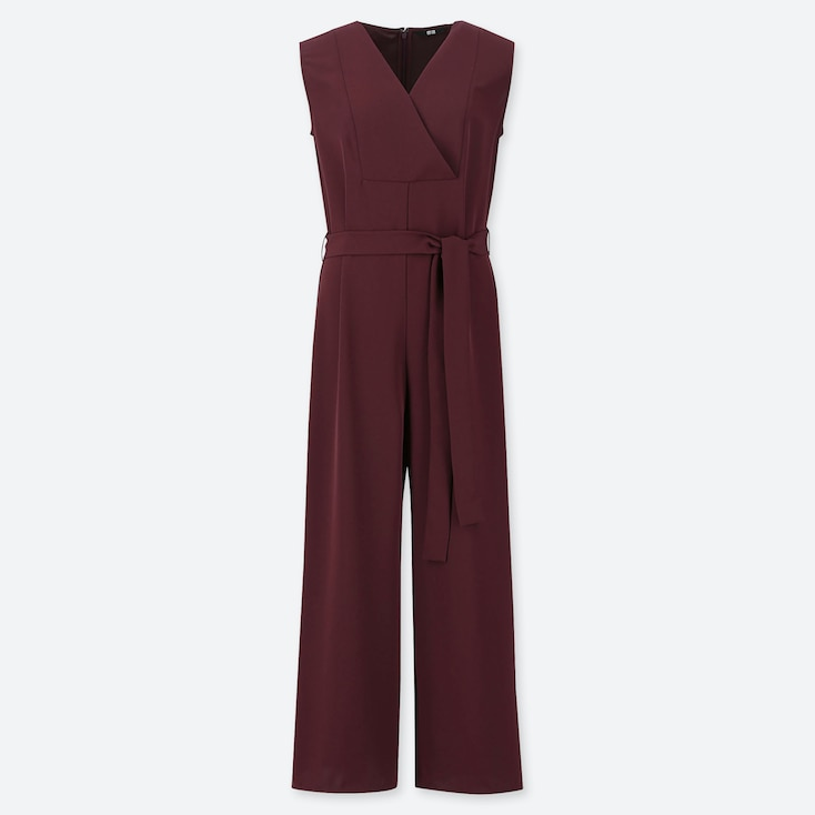 WOMEN DRAPE JUMPSUIT, WINE, large